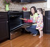 pic of homemaker  - Mother and daughter putting cookie dough onto baking sheet in kitchen - JPG