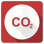 pic of carbon-dioxide  - carbon dioxide red flat icon co2 sign  - JPG