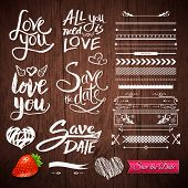 picture of strawberry  - Set of White Love Phrases - JPG