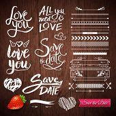 stock photo of strawberry  - Set of White Love Phrases - JPG