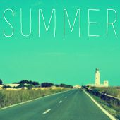 stock photo of mola  - the word summer written on a blurred image of a quiet road leading to a lighthouse - JPG