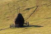 pic of haystack  - Haystack on a mountain meadow - JPG