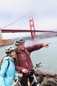 stock photo of exercise bike  - Golden gate Bridge  - JPG