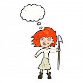 image of spears  - cartoon woman with spear with thought bubble - JPG
