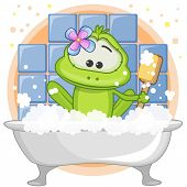 stock photo of cute frog  - Cute cartoon Frog in the bathroom with a sponge - JPG