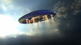 foto of cyborg  - Alien UFO saucer flying on a clouds background above Earth - JPG