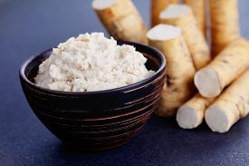 pic of grated radish  - horseradish root and grated horseradish - JPG