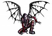 pic of hells angels  - Illustration the fallen angel dressed in a punk or gothic style with a modern haircut and burned wings - JPG