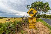 stock photo of koala  - Warning sign for Koala crossing on Austalian country road and injured wildlife assistance number - JPG