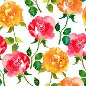 pic of yellow rose  - Abstract seamless watercolor hand painted background - JPG