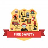 picture of fire-station  - Fire concept with firefighter badge and safety icons flat vector illustration - JPG