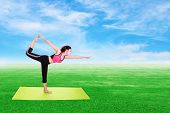 image of yoga mat  - Young woman doing yoga exercise with yoga mat on green grass and blue sky - JPG