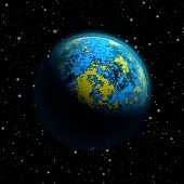 picture of continent  - Abstract planet Earth with blue atmosphere and massive flood and continents breakdown - JPG