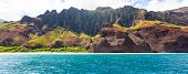 image of cliffs  - panorama of dramatic cliffs at na pali coast at kauai hawaii view from water - JPG