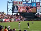 Woman Wins House On Big Screen As Giants Barry Zito Warms Up Before Game