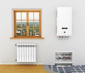 picture of floor heating  - White radiator boiler of central heating is system Heating floor heating in a room with a window - JPG