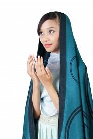 pic of bismillah  - Portrait of young Asian muslim woman praying isolated on white background - JPG