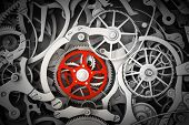 Mechanism, clockwork with one different, red cogwheel. Close-up, detailed. 3D rendering poster