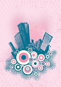 Silhouette of blue city on pink grunge background. Vector art.