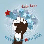 Illustration with fist and Viva Revolucion tex.