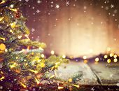Christmas Holiday blurred Background with Christmas tree and garlands. Christmas table background. B poster