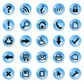Conjunto de brillante, iconos de botón, cristal azul, vector.