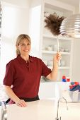 Cleaner Working In Domestic Kitchen With Feather Duster poster