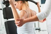 foto of physiotherapy  - Patient at the physiotherapy making physical exercises - JPG