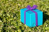 Turquoise gift box with purple ribbon