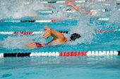 stock photo of swim meet  - The swimmers compete hard in the high school league championships - JPG