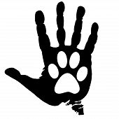 stock photo of paw-print  - Illustration of people love the animals on a white background - JPG