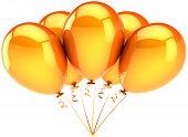 Orange helium balloons five shiny