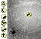 stock photo of taoism  - religious icons caught to the spider web - JPG