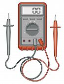 picture of ohm  - Illustration of a multimeter, also known as a volt/ohm meter used to measure to measure voltage, current and resistance.