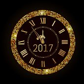 Vector 2017 Shiny New Year Clock In Gold Disco Circle Frame. Vintage Elegant Luxury Gold Clock Midni poster