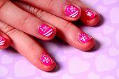 Pink Nail art.