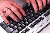 Nail Art  - Computer Keyboard.