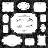 Vector frame and ornament set. Easy to scale and edit. All pieces are separated. Pattern is included