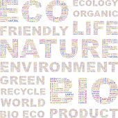 ECOLOGY. Word collage on white background. Vector illustration. Illustration with different associat