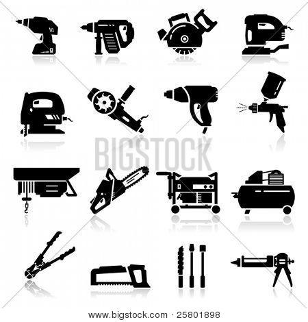 Постер, плакат: Промышленные инструменты набор иконок, холст на подрамнике