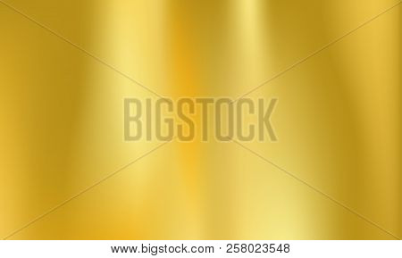 poster of Gold Or Golden Foil Background. Vector Metal Holographic Texture With Abstract Iridescent Gradient