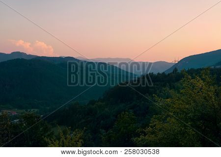 Sunset In Mountain Landscape Mountain