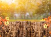 Wooden Fence In The Garden With Fall Background In Autumn Season poster