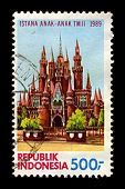INDONESIA-CIRCA 1989:A stamp printed in Indonesia shows image of Istana Anak-anak Indonesia or Castl