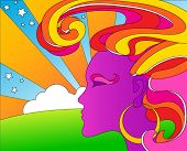 stock photo of woodstock  - vector psychedelic pop art woman - JPG