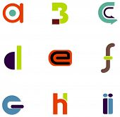 stock photo of asymmetric  - letter icons - JPG