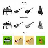 Musical Instrument Black, Flat, Monochrome Icons In Set Collection For Design. String And Wind Instr poster