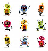 stock photo of spaceman  - cute little robots set 2 - JPG