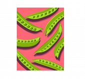 green pea pods on pink