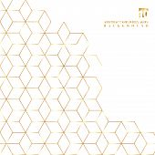 Gold Hexagons Border Pattern On White Background. Geometric Shapes Golden Color Elements Template Fo poster